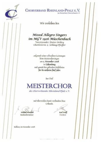 2008 - Meisterchorsingen Mixed Allegro Singers