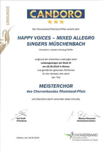 Meisterchor - Urkunde
